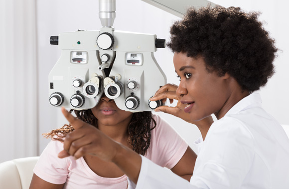 Vision text versus eye exam